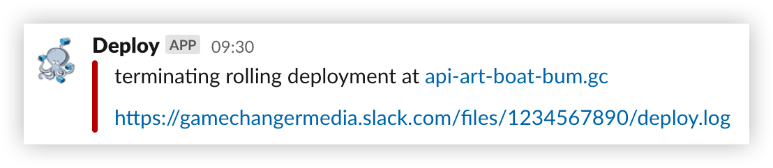 Example slack message