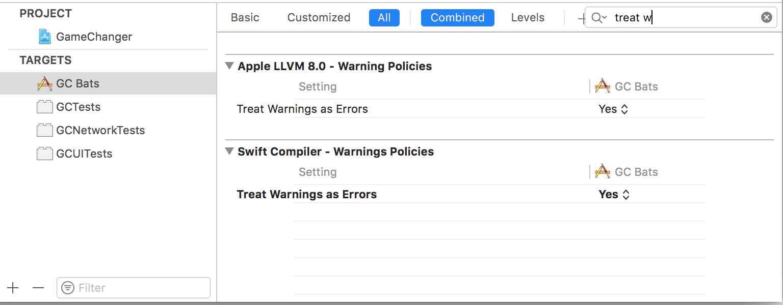A screenshot of Xcode settings, showing treat warnings as errors.